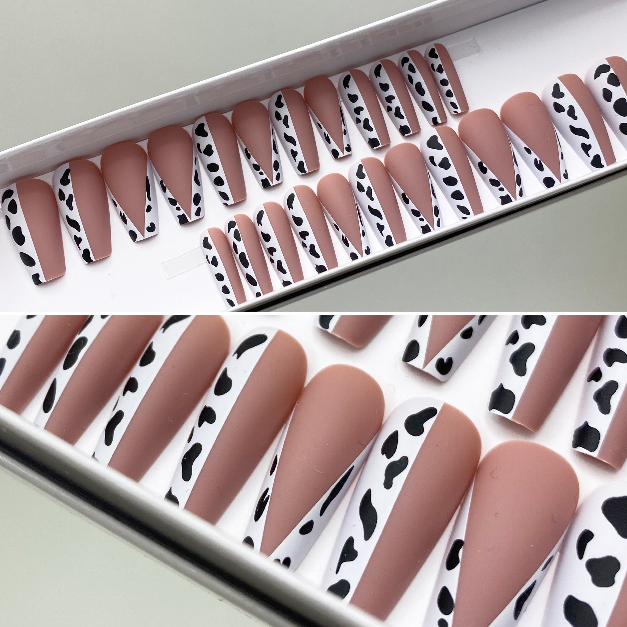 INSTANT GLAM- MOO COW PATTERN MEDIUM COFFIN PRESS ON NAIL SET