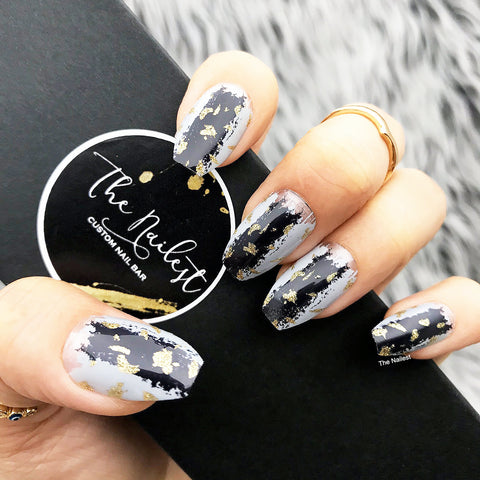 INSTANT GLAM- PYTHON- BLACK GRAY GOLD SPLATTER