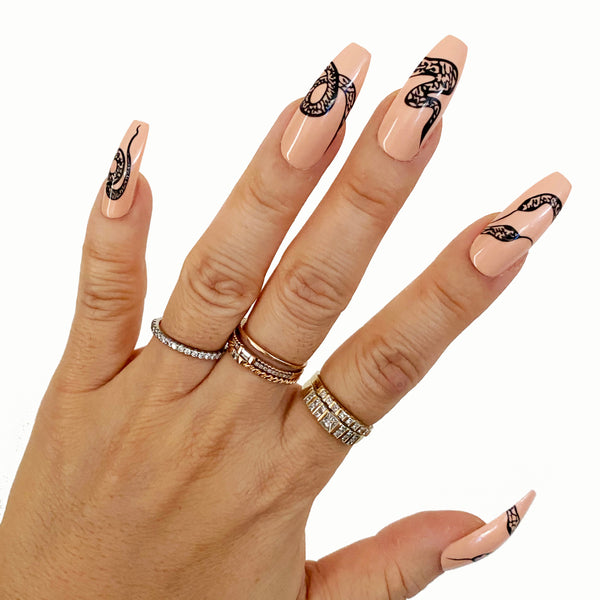 INSTANT GLAM- SNAKE BIZ LONG COFFIN PRESS ON NAIL SET
