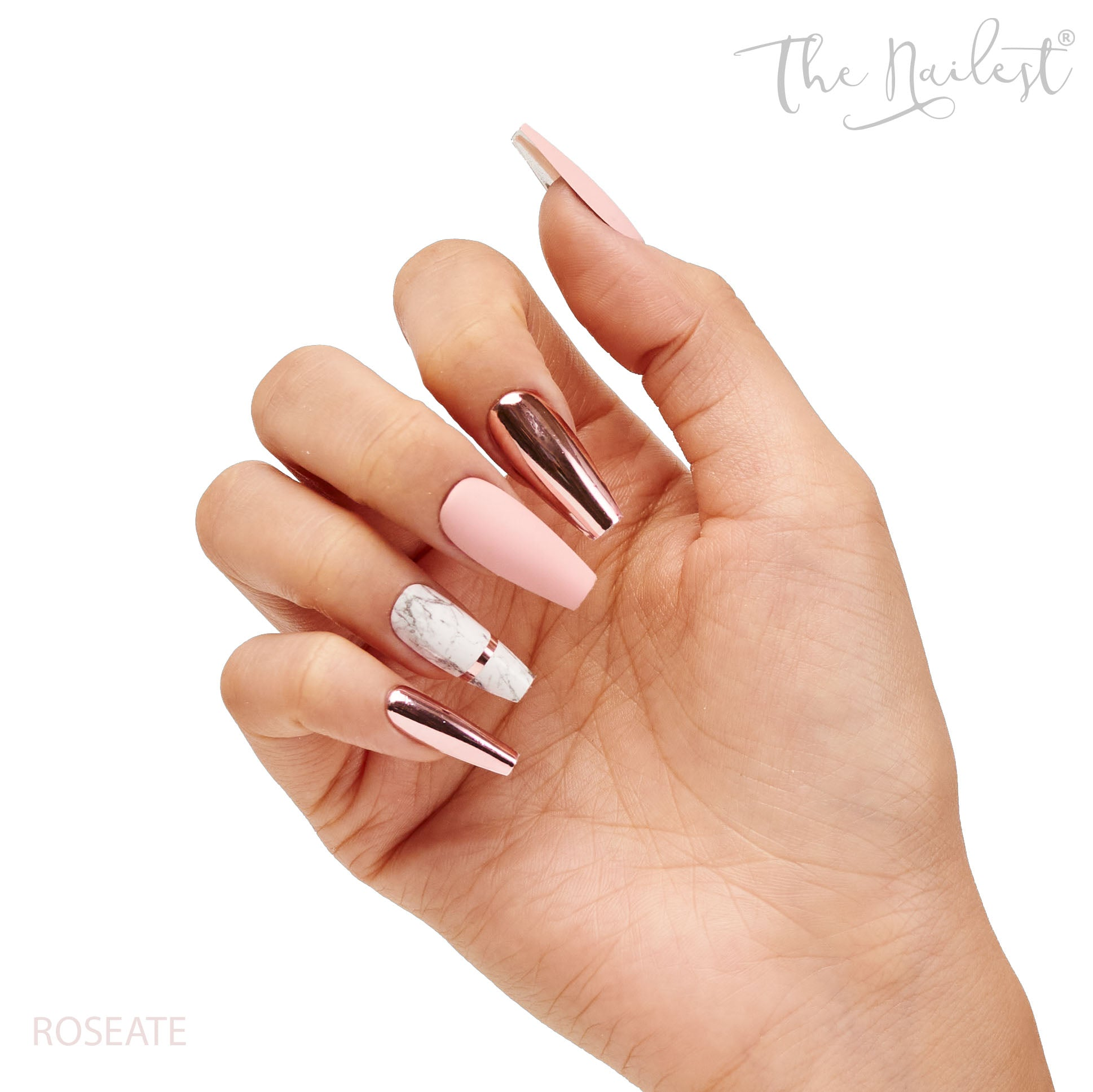 INSTANT LUXURY ACRYLIC PRESS ON NAILS- ROSEATE