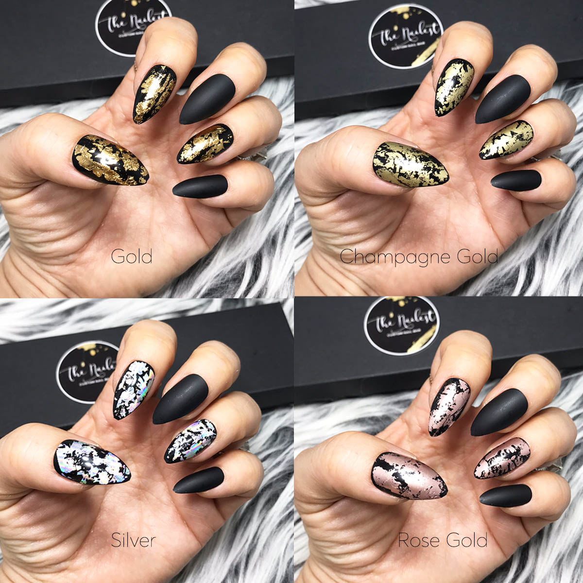 DAZZLE BLACK- STILETTO W/ FOIL ACCENT SET