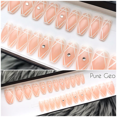 INSTANT GLAM- PURE GEO- NUDE WHITE W CRYSTALS PRESS ON NAIL SET