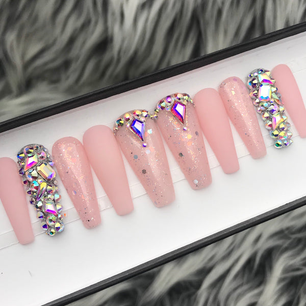 HANDMADE- FROSTY THE PINK SHEER PINK IRIDESCENT GLITTER W/ BLING CRYSTALS