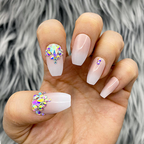 DAZZLE BELLA OMBRÉ CRYSTAL ACCENT COFFIN NAIL SET