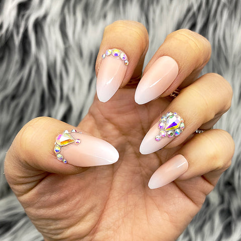 DAZZLE SOPH PINK OMBRÉ CRYSTAL ACCENT COFFIN NAIL SET