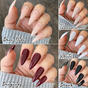 INSTANT GLAM- MEDIUM STILETTO LENGTH GLOSSY SOLID PRESS ON NAIL SETS