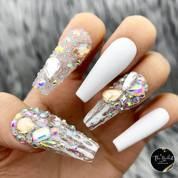 LUX WHITE ICICLES BLING CRYSTAL PRESS ON NAILS SET