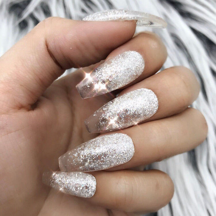 HANDMADE- CLEAR GLITTER OMBRE GLOSSY IRIDESCENT SILVER GLITTER OMBRE