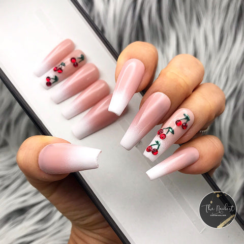 BABY BOOMER RED CHERRY POP CRYSTAL PRESS ON NAILS SET