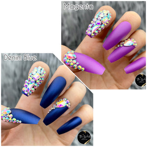 DAZZLE MATTE LONG COFFIN W/ CRYSTAL ACCENT PRESS ON NAIL SET