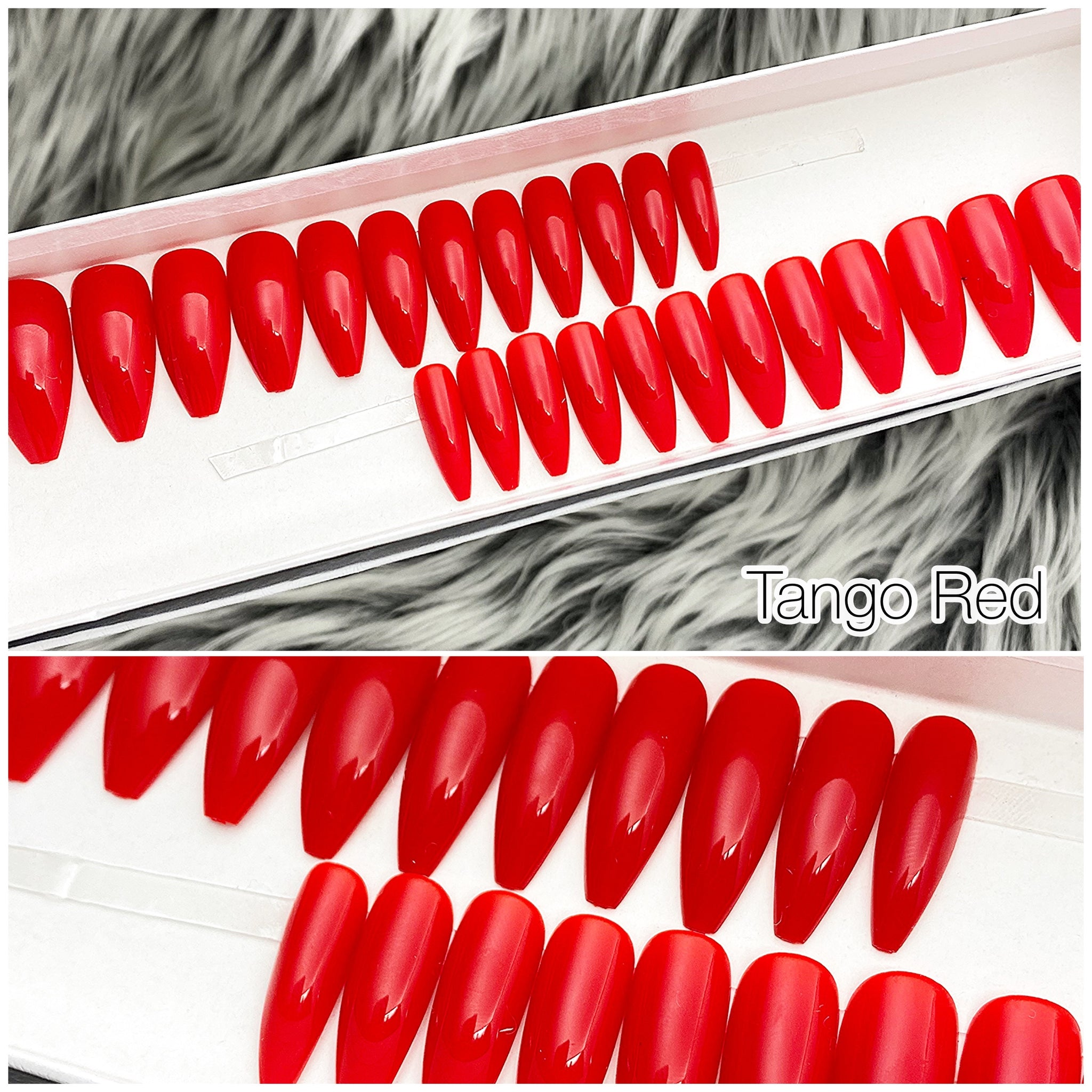 INSTANT GLAM- TANGO RED GLOSSY TAPERED LONG COFFIN PRESS ON NAIL SET