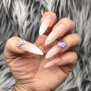 DAZZLE BABY BOOMER OMBRÉ CRYSTAL ACCENT LONG STILETTO NAIL SET