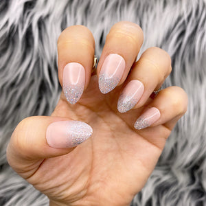 INSTANT GLAM- NUDE GLITZY - NUDE BASE W GLITTER SHORT STILETTO PRESS ON NAIL SET