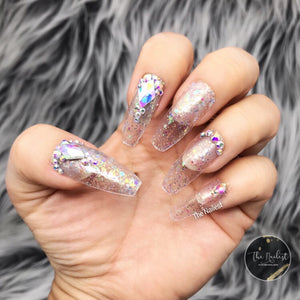 DAZZLE CLEAR GLITTER W CRYSTAL LONG COFFIN PRESS ON NAIL SET