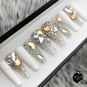 HANDMADE- LUX WHITE ICICLES BLING CRYSTAL PRESS ON NAILS SET