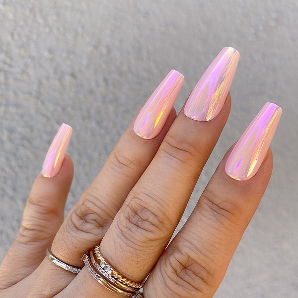 INSTANT GLAM- PEACHY CHROME MEDIUM COFFIN OMBRÉ SET