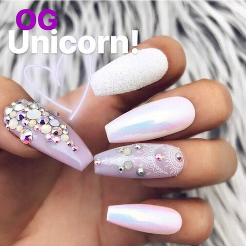 HANDMADE- OG UNICORN WHITE GLITTER UNICORN CHROME BLING CRYSTALS