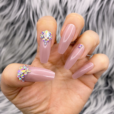 DAZZLE SHEER MAUVE CRYSTAL ACCENT LONG COFFIN PRESS ON NAIL SET