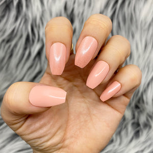 INSTANT GLAM- CLEAR SHEEN CORAL PRESS ON NAIL SET
