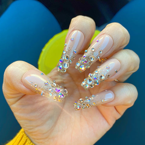 BIJOU-BIJOU NUDE W GLITTER OMBRÉ DETAILED CRYSTALS SET