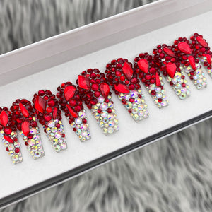 HANDMADE- RUBY RED AB SHOW STOPPER , ALL BLING CRYSTAL SET