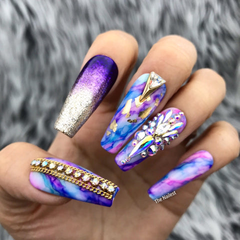 ARTISTIC GOLDEN AGE SWAROVSKI CRYSTALS PRESS ON NAILS SET