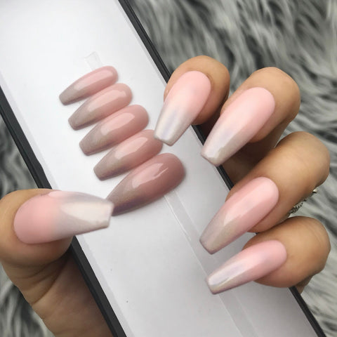 HANDMADE- SOPH PINK NUDY OMBRE SET PRESS ON NAILS SET