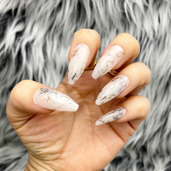 INSTANT GLAM- CARACATTA MARBLE TAPERED LONG COFFIN PRESS ON NAIL SET