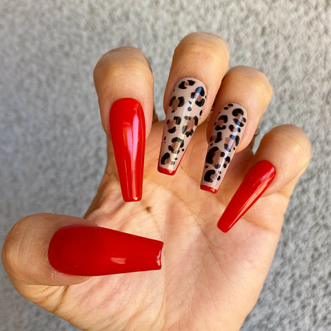 HANDMADE- HAUTE LEOPARD GLOSSY RED SOLID TIPPING LEOPARD PRINT