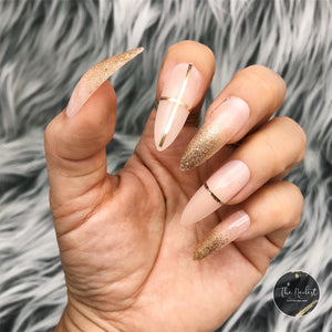 INSTANT GLAM- LONG STILETTO BABY BOOMER GLITTER NUDE OMBRÉ SET
