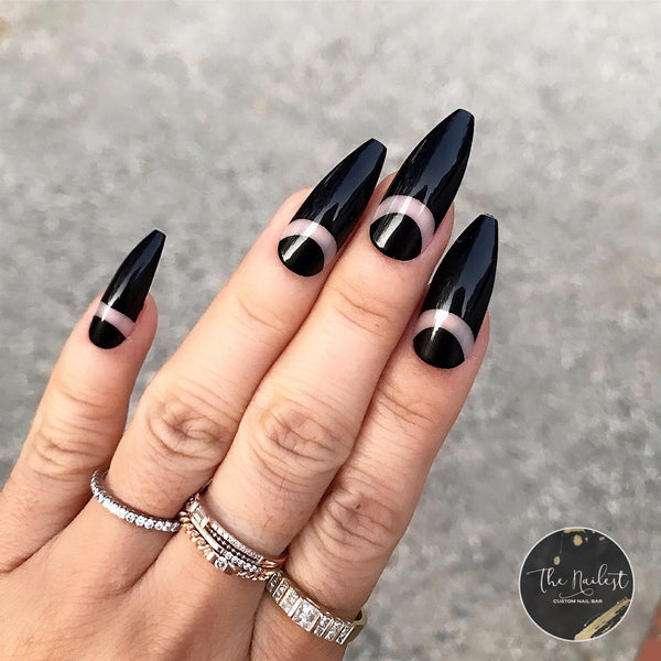 INSTANT GLAM- MALEFICENT BLACK TAPERED COFFIN PRESS ON NAIL SET