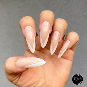 INSTANT GLAM- V SHAPE WHITE FRENCH LONG STILETTO PRESS ON NAIL SET