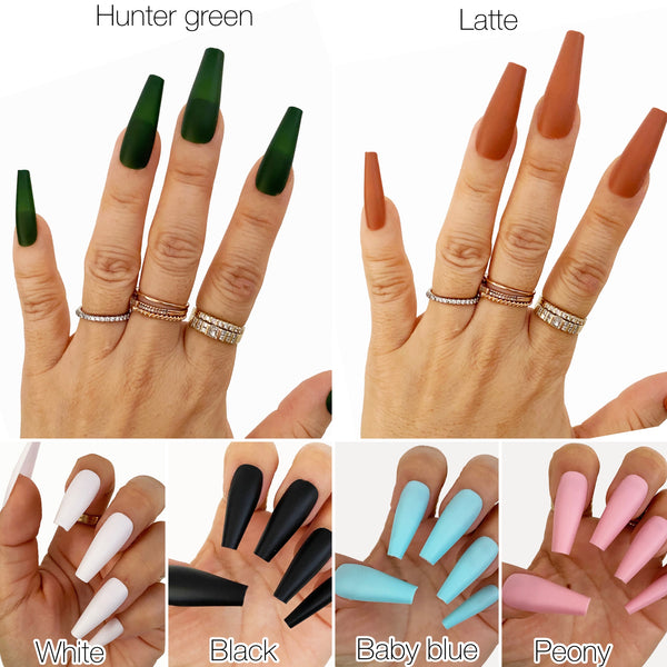INSTANT GLAM- MATTE SOLID C-CURVE PRESS ON NAILS