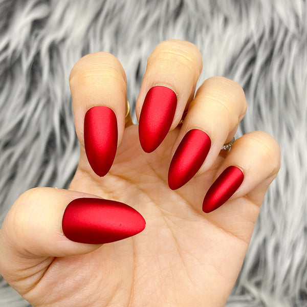 INSTANT GLAM- SILKY MATTE RED CHROME PRESS ON NAIL SET