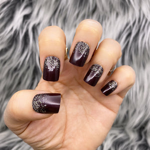 INSTANT GLAM- BURGUNDY & SILVER GLITTER SHORT SQUARE PRESS ON NAIL SET