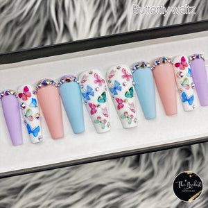 HANDMADE- BUTTERFLY WALTZ CRYSTAL PRESS ON NAILS SET