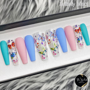 HANDMADE- BUTTERFLY EFFECT CRYSTAL PRESS ON NAIL SET