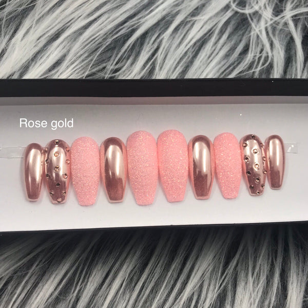HANDMADE- ROSE GOLD OR AQUA CHROME SUGAR GLITTER PRESS ON NAIL SET