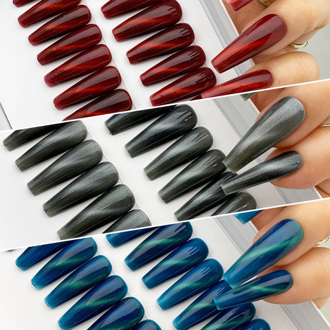 INSTANT GLAM- CAT EYE C-CURVE LONG COFFIN PRESS ON NAIL SET