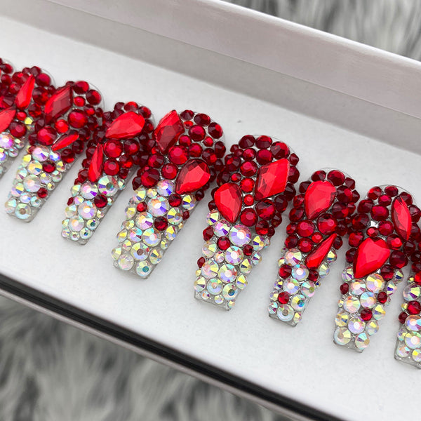 HANDMADE- RUBY RED AB SHOW STOPPER ALL BLING CRYSTAL OMBRE