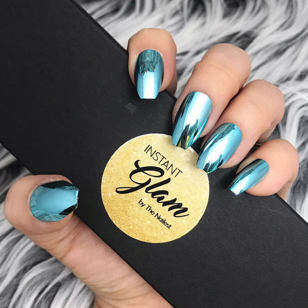 INSTANT GLAM- SHINY AQUA CHROME FULL SET