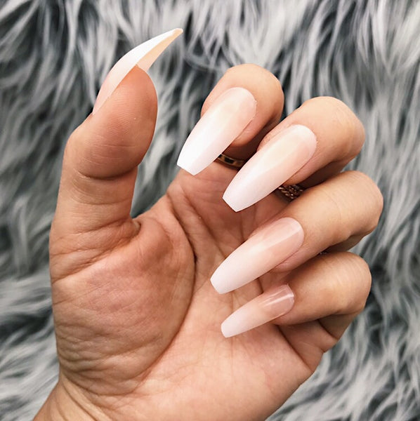 INSTANT GLAM- LONG STILETTO OR LONG COFFIN BABY BOOMER NUDE OMBRÉ SET