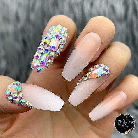 DAZZLE BABY BOOMER OMBRÉ W/ CRYSTAL ACCENT LONG COFFIN PRESS ON NAIL SET