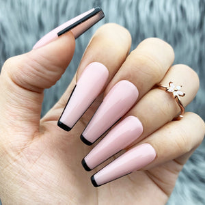 BLACK- TIP TIPPED PRESS ON NAILS SET
