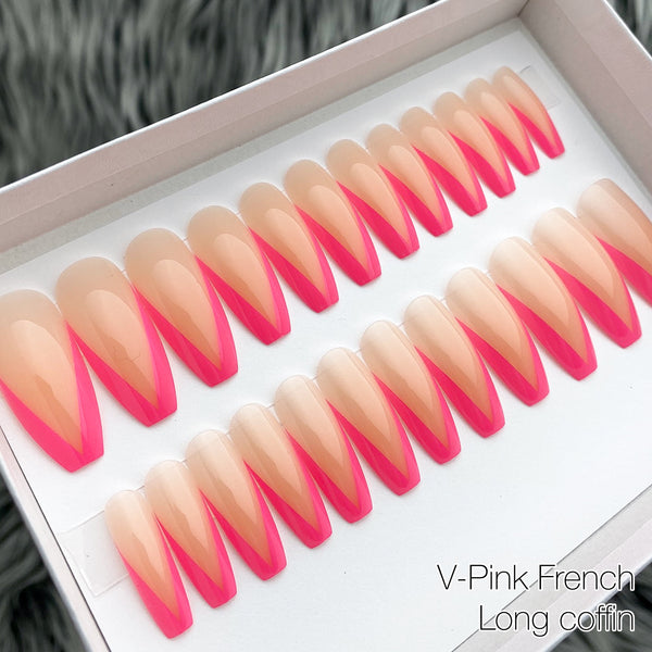 INSTANT GLAM- V SHAPE PINK FRENCH LONG COFFIN PRESS ON NAIL SET
