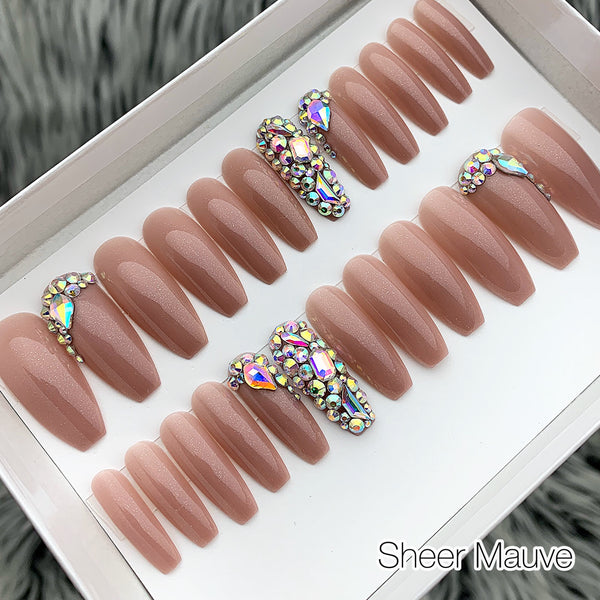 DAZZLE SOLID GLOSSY W/ CRYSTAL ACCENT LONG COFFIN PRESS ON NAIL SET