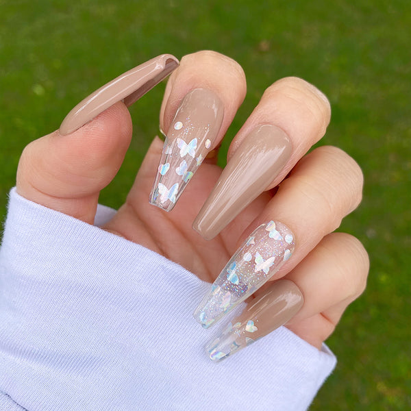 GLOSSY SIMPLY BUTTERFLY CLEAR PRESS ON NAIL SET