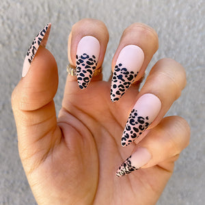 INSTANT GLAM- BARE CHEETAH MEDIUM STILETTO OMBRÉ SET