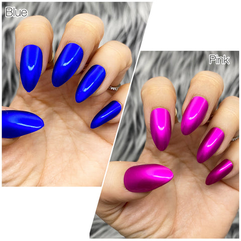INSTANT GLAM SHINY CHROME BLUE OR PINK PRESS ON NAIL SET