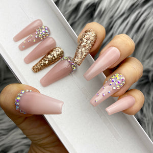 HANDMADE GLOSSY NUDE SOPHISTICATED (SOPH) PINK CRYSTAL PRESS ON NAIL SET